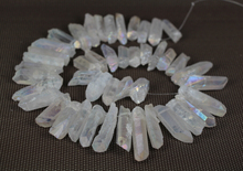 Large Rainbow White AB Mystic Titanium Quartz Crystal Top Drilled Point Bead,Rock Raw Crystal Pillar Graduated Necklace Pendants