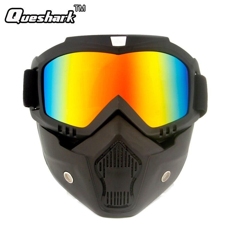Queshark модульная маска Съемный очки и рот фильтр лыжные очки Для мужчин Для женщин ветрозащитный снег сноуборд Лыжный Спорт Защита для глаз