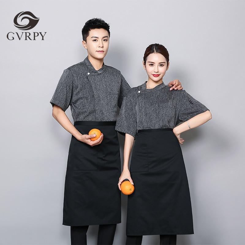 Grey Cotton And Linen Short Sleeve Chef Uniform Male Restaurant Hotel Chef Work Clothing Food Service Cafe Waiter Work Shirt