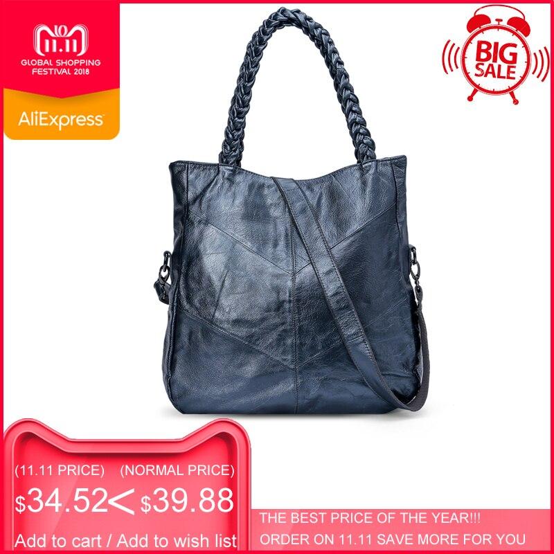 цены на ESUFEIR Brand Genuine Leather Women Handbag Cow Leather Patchwork Shoulder Bag Fashion Women Messenger Bag Tote Bags sac a main в интернет-магазинах