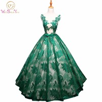 Walk Beside You Vestidos Para Quinceaneras Dresses 2017 Sweet 16 Ball Gown Green Lace Red Navy