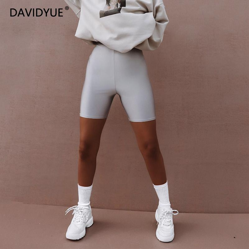 Summer Shorts 2019 Reflective Biker Shorts Women High Waist Shorts Ladies Sweatpants Jogger Punk Sexy Black Shorts Streetwear