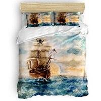 Пиратская лодка Ретро Винтаж 3D постельное белье 4 шт. постельное белье, Королева/Твин/король размер постельных принадлежностей пододеяльни