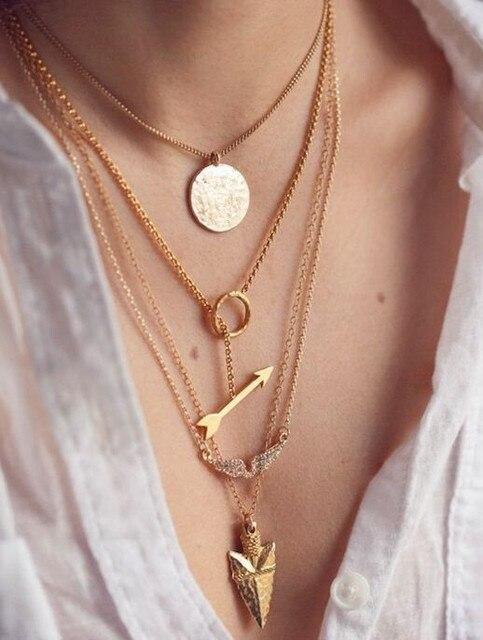 b57925f55bb4 2016 elegante collar de cadena larga de 4 capas COLLAR COLGANTE de flecha  joyería de moda