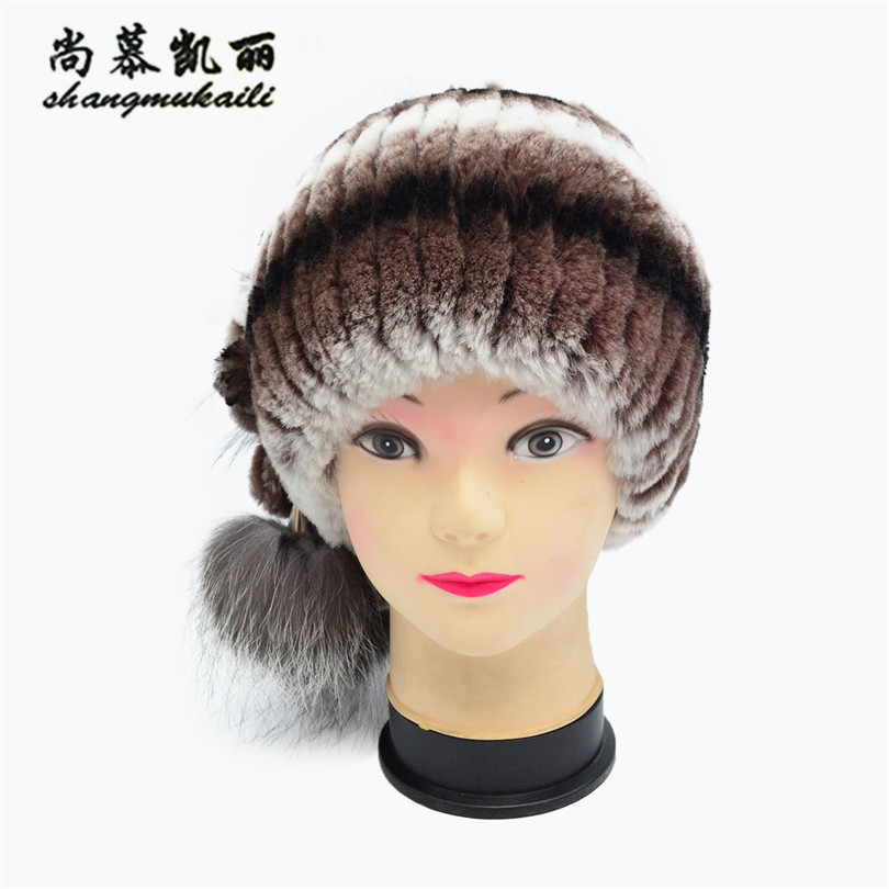 Winter fur hat women cap real rex rabbit fur hat with fox fur pom poms fur knitted beanies 2017 fashion good quality cap Russian new fashion good quality caps winter fur hat for russian women real rex rabbit fur hat with fox fur pom poms fur knitted beanies