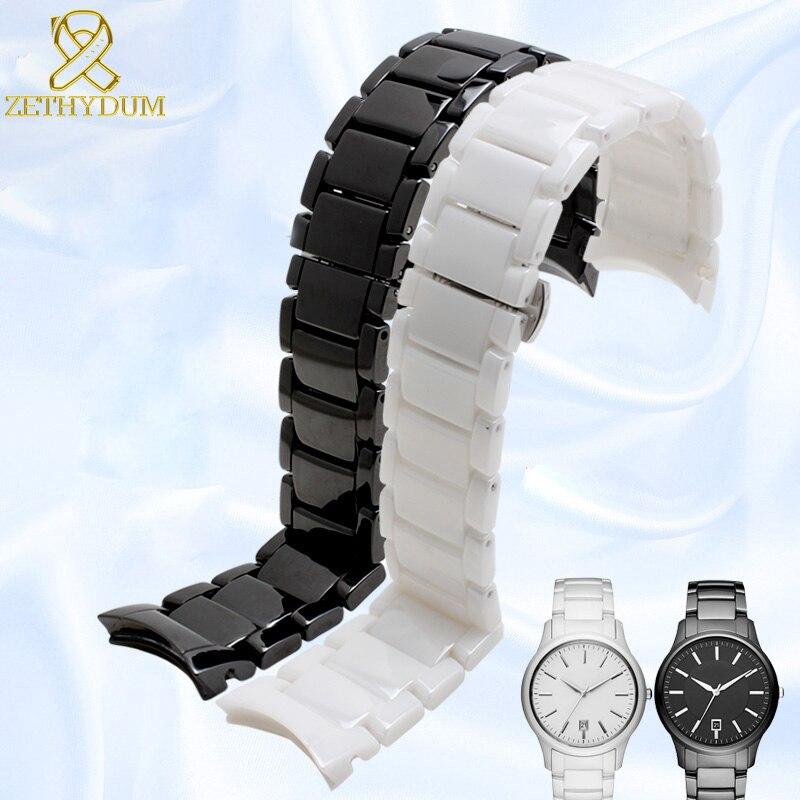 Curve End Ceramic Watchband 18mm 22mm Watch Strap For AR1400 AR1401 AR1410 AR1406 AR1407 AR1475 AR1476 AR1405 AR1443 Watch Band