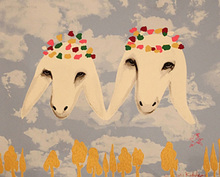 High Skill Hand-painted Top Artist Animal Sheep Heads Oil Painting Decorative Painting Porch Wall Art Oil Painting on Canvas yhhp hand painted animal canvas oil painting hair donkey