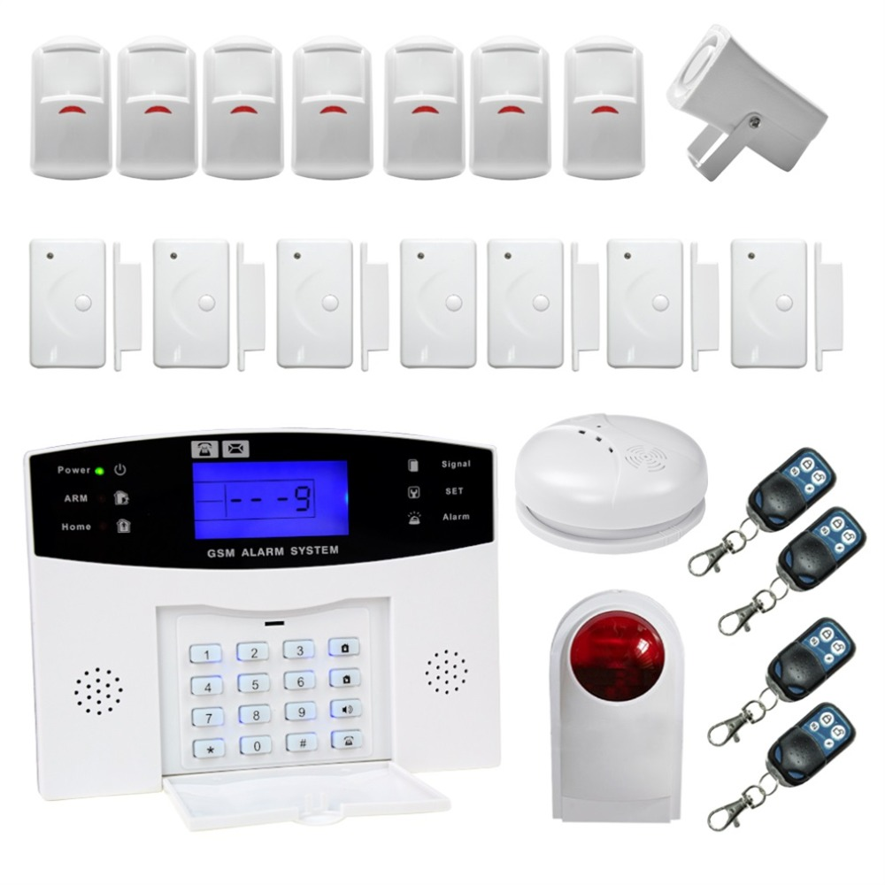 Professional Door Bell Warning Device LCD Wireless Security Alarm Home Office Alarm System Kits White wireless alarm device 8 door magnets set white