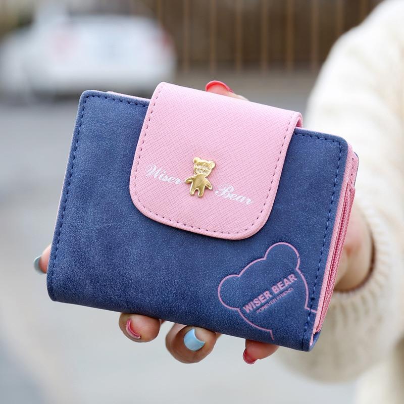 купить 2017 Brand New Lovely Bear Wallet Female Leather Small Change Clasp Purse Money Coin Card Holder Girl wallets Portfolio недорого
