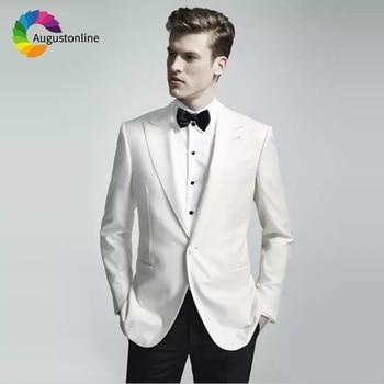 White Slim Fit Wedding Suits Groom Wear Tuxedos Prom Party  2 Pieces (Jacekt+Pants) Bridegroom Men Suits Best Man Blazer