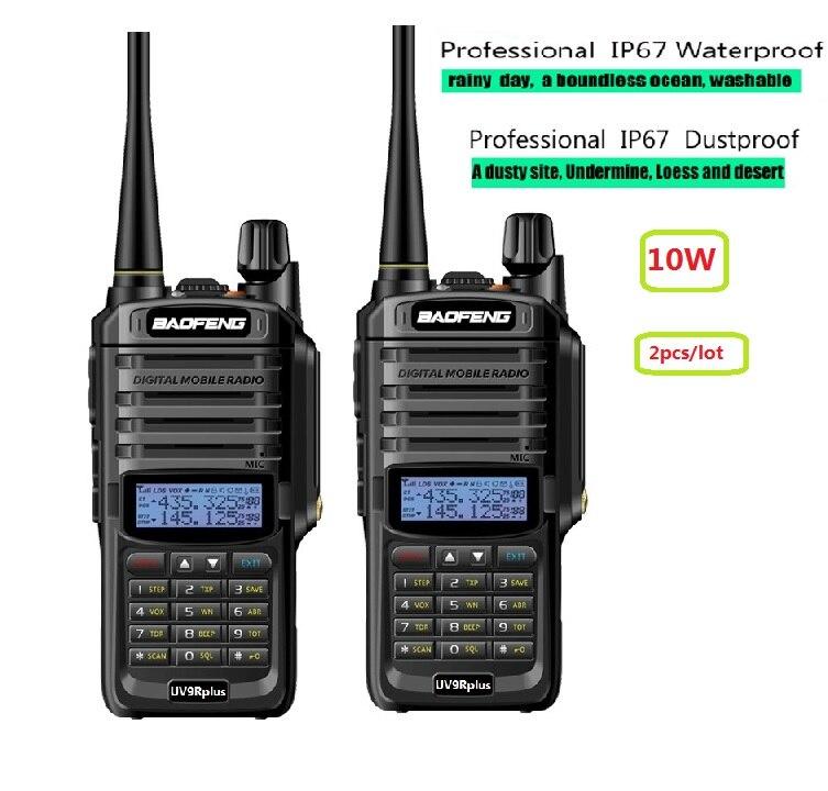 2 pcs UV-9R plus Haute puissance 10 w mise à niveau version baofeng réel 10 w deux way radio VHF UHF portable radio talkie walkie uv 9R plus
