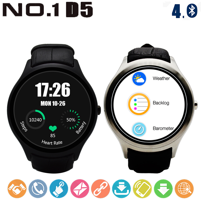NO.1 D5 Android 4.4 Smart Watch MTK6580 Bluetooth 4.0 Heart Rate Monitor 512MB + 4GB GPS WiFi Wearable Devices FoR Men and Women