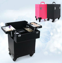 professional makeup trolley case Gift Box for Makeup Girl beautary Bag Black and Red 34x24x39cm