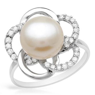 I & zuan S925 Plata Blanco Diámetro 9 ~ 10mm de Perlas Cultivadas de agua dulce de Moda F Anillo de la Joyería de regalo de Navidad