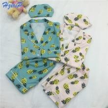 Hzirip 3 Pcs Pajamas Set Women 2017 New Striped Cartoon Pineapple Print Shirt+Shorts+Blinder/Headband Sleepwear Pyjamas Pajamas