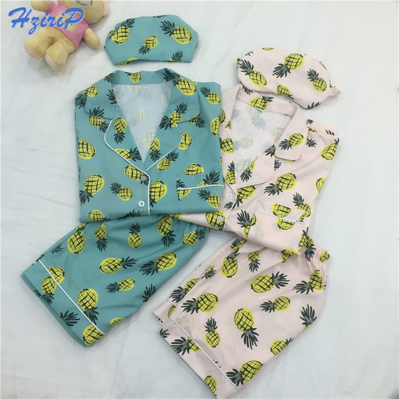Hzirip 3 Pcs   Pajamas     Set   Women 2017 New Striped Cartoon Pineapple Print Shirt+Shorts+Blinder/Headband Sleepwear Pyjamas   Pajamas
