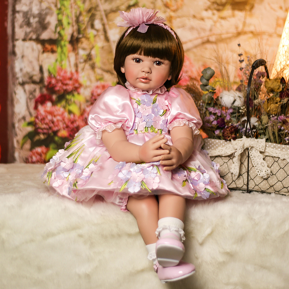 Short Hair Doll Silicone Reborn Toddler Princess Girl Baby Doll Toys for Girls Educational Doll Toys Birthday Christmas Gifts 52cm shoulder length hair reborn toddler baby girl doll smling princess girl doll in flower dress girls toys birthday xmas gifts