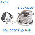 sale 15M 110V/220V High Voltage SMD 5050 RGB Led Strips Lights Waterproof + IR Remote Control + Power Supply