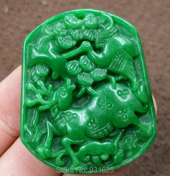 Beautiful Natural Green Jade Pendant Jade Carved Chinese Deer Crane Lucky Amulet Pendant + Rope Necklace Fashion Jade Jewelry