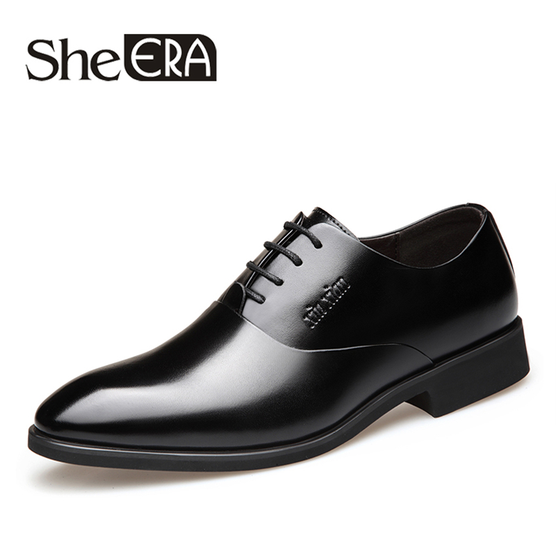 Male Shoes New 2018 Men Busness Formal Dress Shoes Oxford Men Leather Shoes Lace-Up Pointed Toe British Style Increased MenShoes