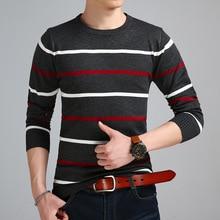 Новое поступление осенне-зимний пуловер с круглым вырезом свитер Мужская брендовая одежда кашемировый шерстяной свитер мужской повседневный полосатый вязаный пуловер