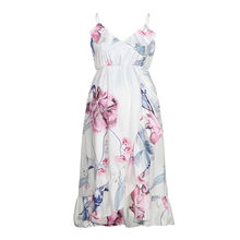 Sexy Fashion Womens Maternity Clothing Mother Casual Floral Print Ruffled Sling Pregnant Dress For Maternity Clothes Summer(China)
