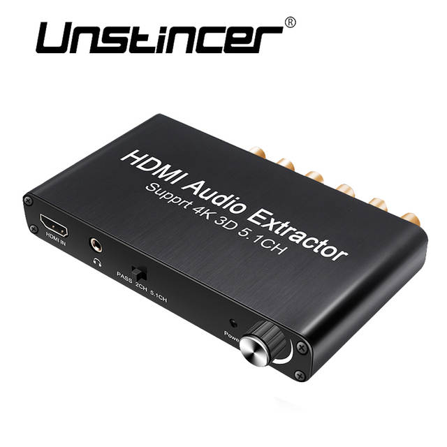 UNSTINCERT SPDIF 5 1 Digital Audio Decoder HDMI Audio Extractor 4K 3D  Converter 3 5mm Output HDMI To HDMI For PS4 amplifier 5 1