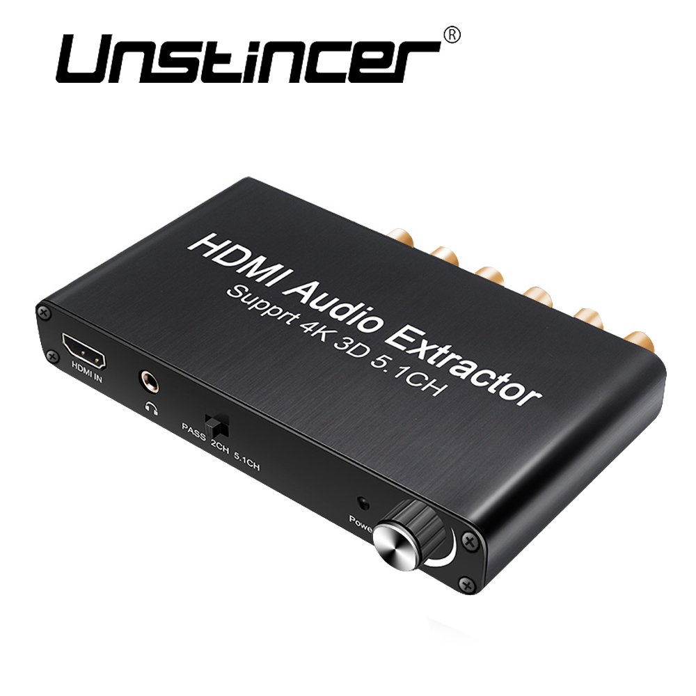 UNSTINCERT SPDIF 5.1 Digital Audio Decoder HDMI Audio Extractor 4K 3D Converter 3.5mm Output HDMI To HDMI For PS4 amplifier 5.1