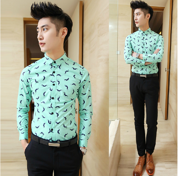New Men's Fashion Style Mustache Print Long Sleeve Casual Button ...