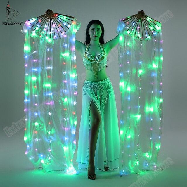 ใหม่ Belly Dance ผ้าไหมพัดลม Veil พัดลม LED Light up เงาจีบ Carnival พัดลม LED Stage Performance Props อุปกรณ์เสริมเครื่องแต่งกาย