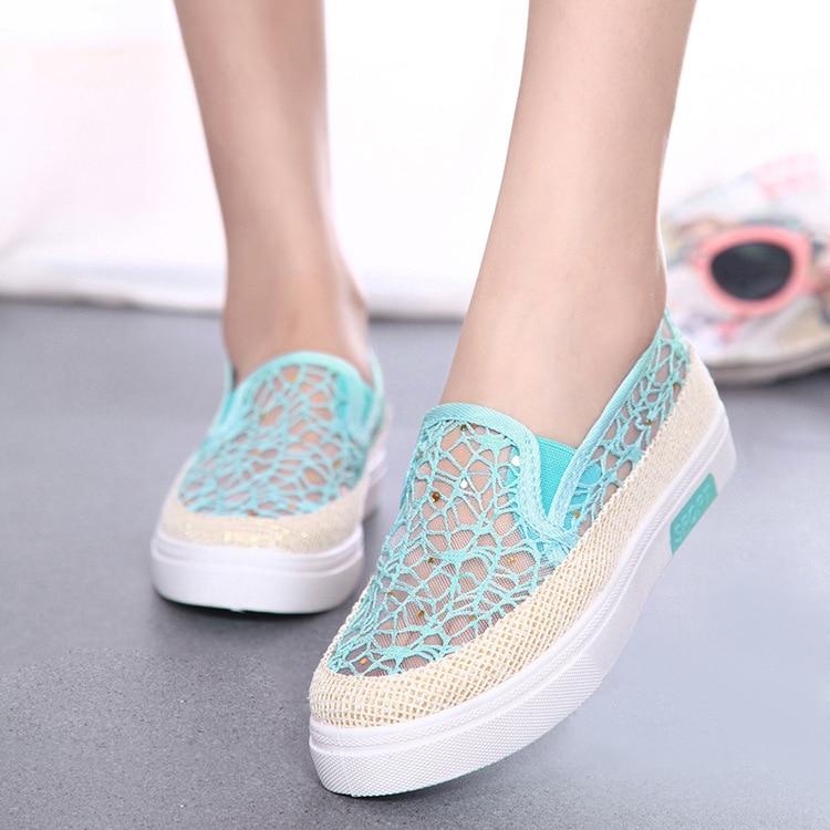 Los Recortes de Encaje Casual Zapatos de Lona de Verano Zapatos de Las Mujeres F