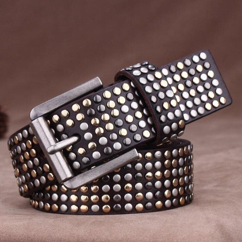 Genuine Leather Multioclor Rivet Belts Hip-hop Punk Style Belt Luxury Jeans Belts Unisex Quality Assurance YM002