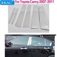 RKAC Car styling For Toyota Camry 2007 2008 2009 2010 2011 6pc Set Door Trim Kit Stainless Steel Chrome Pillar Posts
