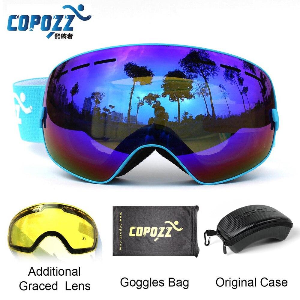 COPOZZ esquí gafas con el caso y la lente UV400 Anti-niebla esférica de esquí gafas de esquí de las mujeres de los hombres de nieve gafas + lente + caja