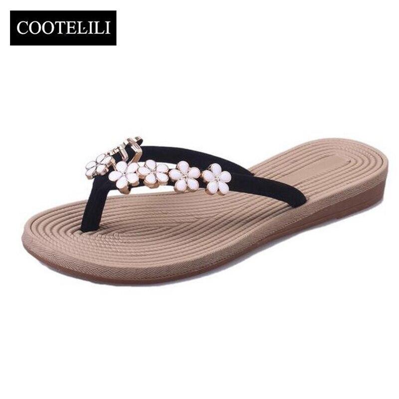 wholesale dealer 0ff66 36172 US $6.32 51% OFF|COOTELILI 35 41 Plus Größe Fashion Floral Metall Strand  Schuhe Frauen Sommer Hausschuhe Sommer Flip Flops Flache Schuhe Für  damen-in ...