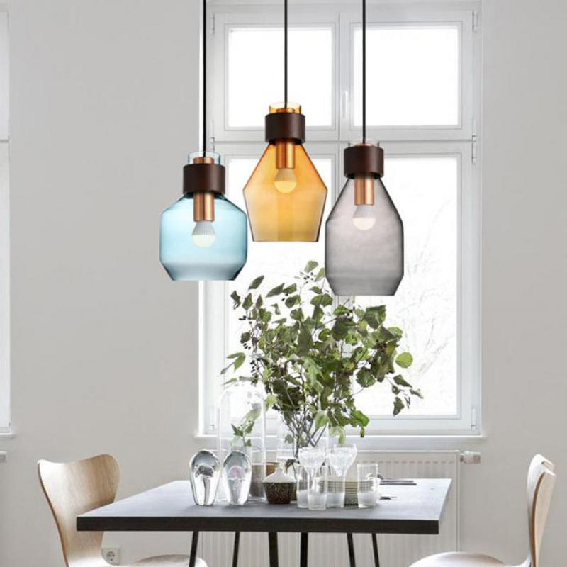 Kitchen 1 pcs interior lighting pendant light with glass cover grey Blue amber pendant lamps LED lights Japanese stye Luminaire 100% new and original e3s ar11 e3s ad11 omron photoelectric switch 10 30vdc 2m