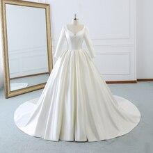 b12c8301d4869 Vintage Saten V Yaka Robe De Evlilik Prenses Balo Uzun Gelinlik Kollu  Vestidos De Novia Ile 2018 gelinlikler