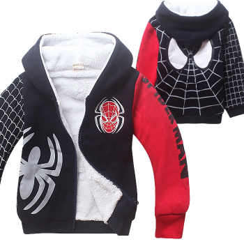 New Spider Man Cartoon Children Autumn Winter Sport Hoodies Thick Coat Double Coral Cotton Velvet Zipper Outfit for 4-12 Years