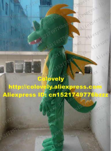 Hidup Hijau Dinosaurus Naga Terbang Kostum Maskot Stegosaurus Dino Phytodinosauria dengan Mulut Besar Perut Kuning No 899 Kapal Gratis