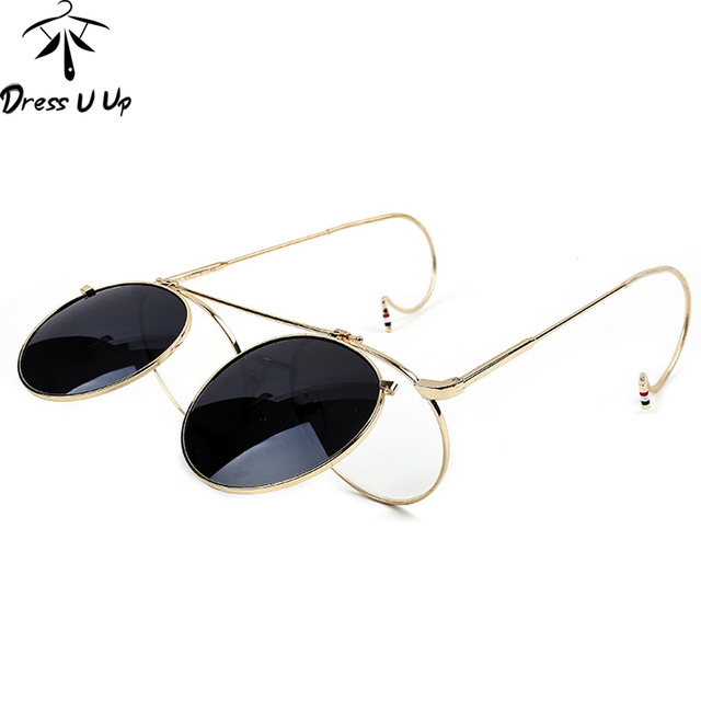 Steampunk Vintage Flip Sunglasses Men Brand Designer Round Sunglasses Metal Coating Sun Glasses Women Retro Oculos De Sol