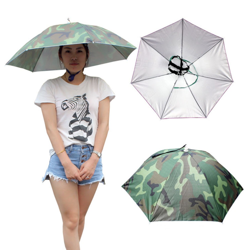 2017 Outdoor Sports 69cm Umbrella Hat Cap Folding Women Men Umbrella Fishing Hiking Golf Beach Headwear Handsfree Umbrella
