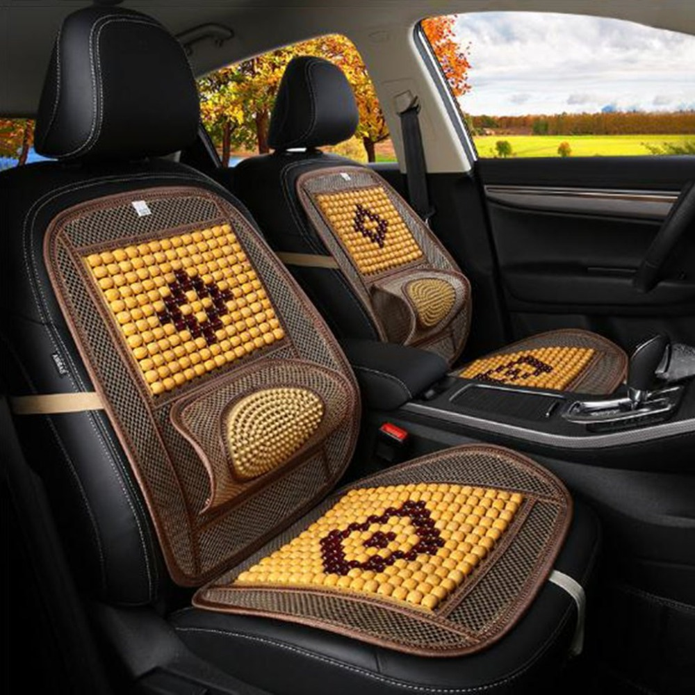 Bead-Cushion Wooden Breathable Single-Piece Summer Cool Car Air-Net Practical Hollow