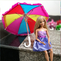 Doll Accessories Handmade Umbrella For Barbie Doll's Doll House Decoration Random Color Girl Birthday Christmas Gift