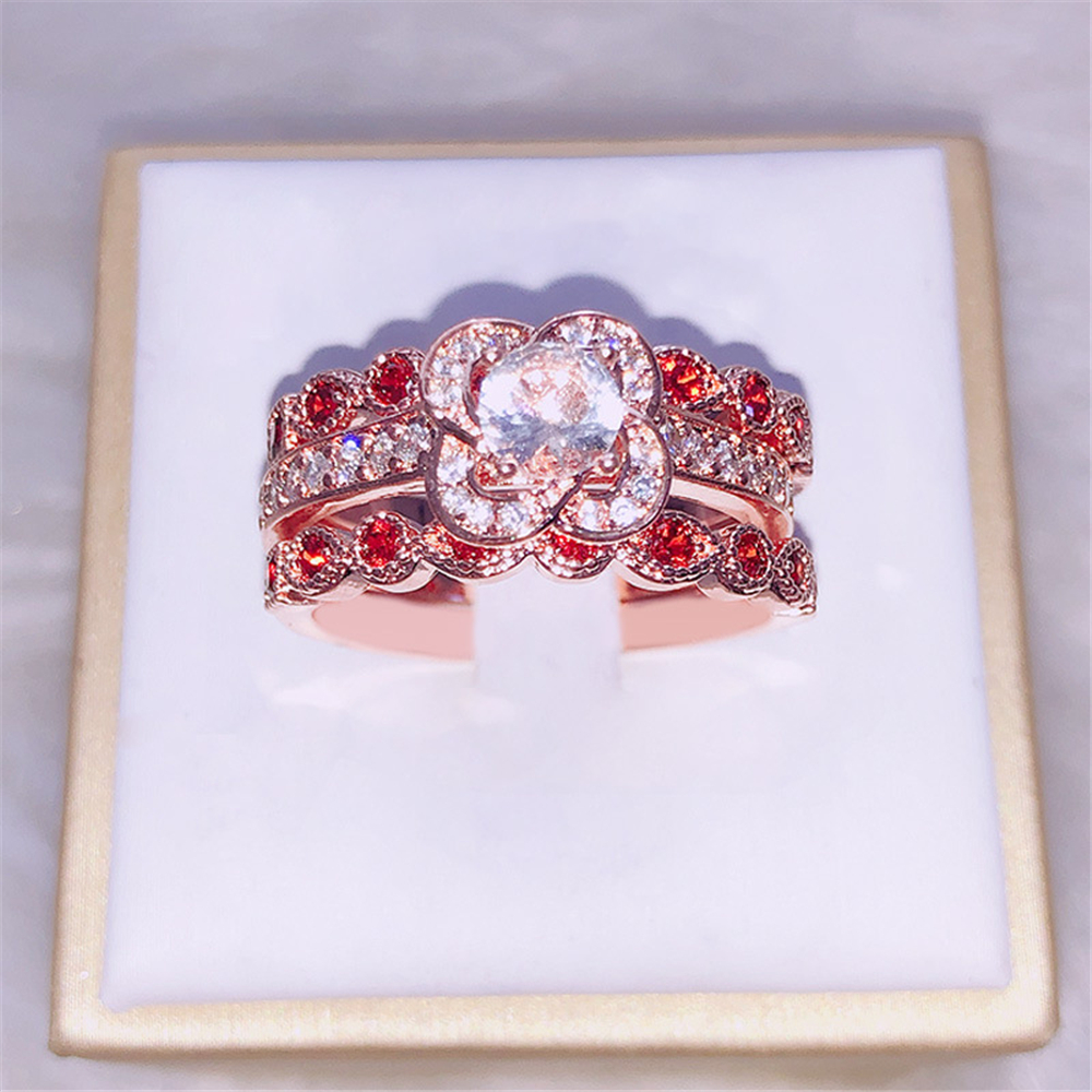 3-piece set Luxury fashion inlaid with passionate red zircon creative floral pattern metal ring for women,party weddings.(China)