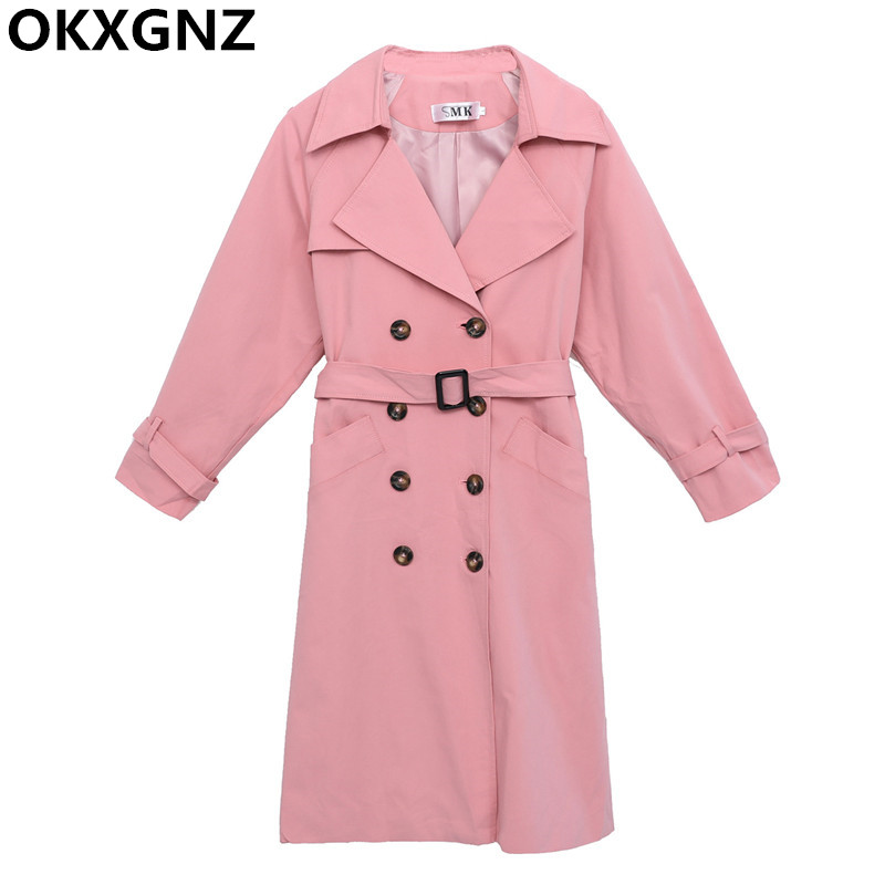 2019 New Fashion Autumn Women Casual   Trench   Coat Double-breasted Female Windbreaker Loose Large Size 4XL With Belt Outerwear 189