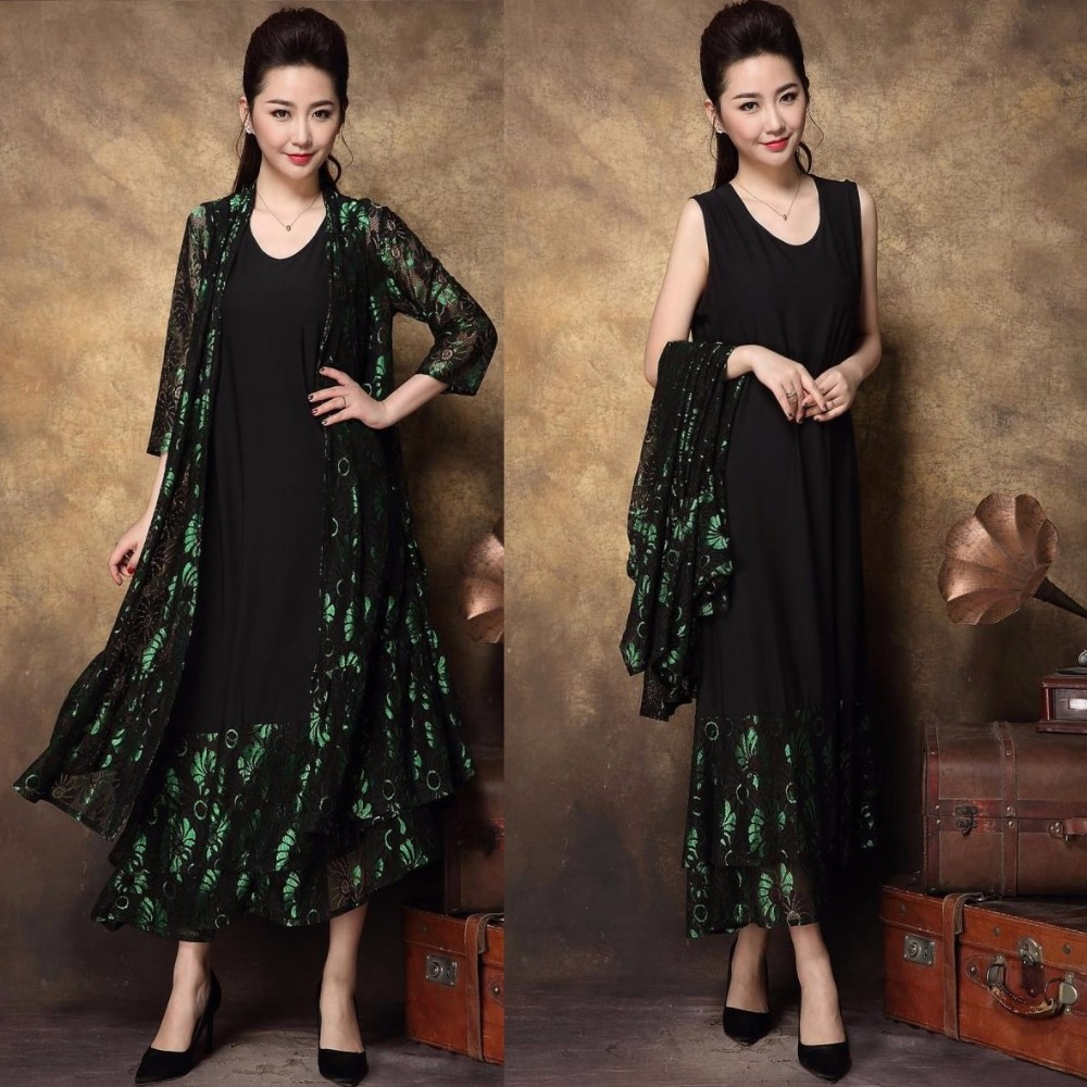 New2017Spring Middle Age Women Plus size Elegant party Dress twset lace patchwork high end temperament long