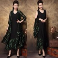 Mujeres de mediana edad más el tamaño elegante party dress twset new2017spring lace patchwork temperamento de alta gama larga dress vestidos xxxxl