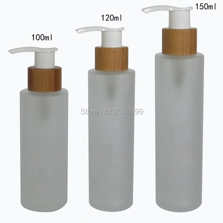 100ML 120ML 150ML Frost Glass Emulsion Pump Bottle Bamboo Lotion Pump Bottles Empty Cosmetic Packaging Bottles