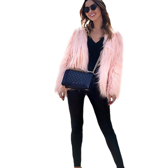 2019 New Fashion Autumn Winter Women Faux Fur Coat Solid Color Long Sleeve Fluffy Outerwear Short Jacket Hairy Warm Overcoat