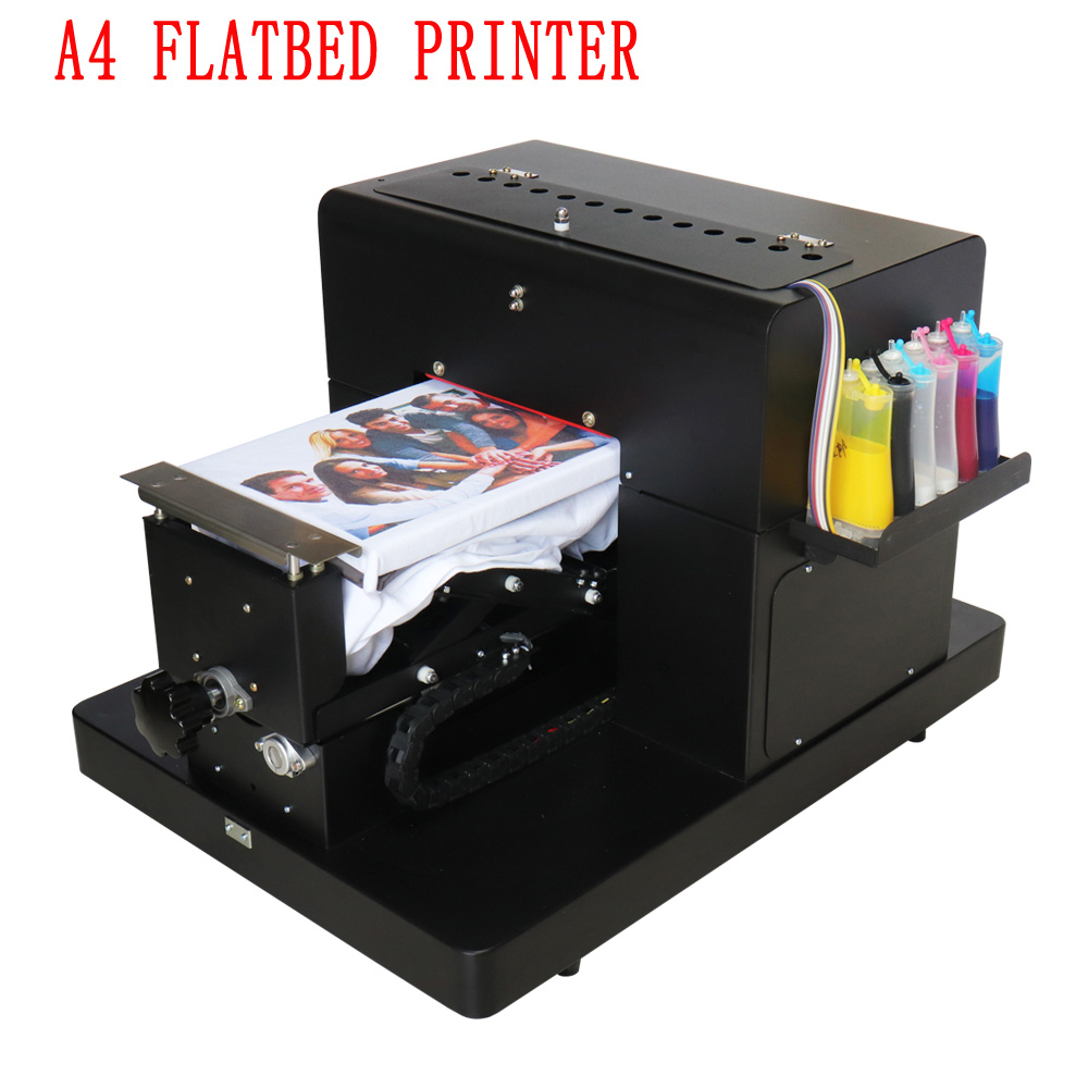 Tamanho da Impressora de mesa Impressora t-shirt A4 6 cor roupas DTG Máquina De Impressão De T-Shirt Roupas de Impressão DO Cartão De PVC Com Tinta